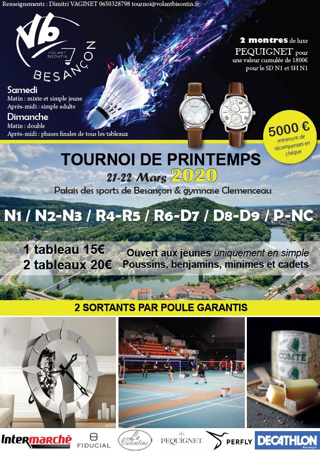 Tournoi de Printemps 2020, Besançon 25 - ANNULÉ -